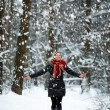 Pretty young Woman in snow winter forest happy — Stock Photo