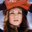 Young beaytiful women in fur hats in winter forest — Stock Photo #22271989