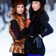 Two young beautiful women in fur hats in winter forest — Stock Photo #22273137