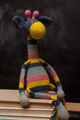 Rainbow crochet giraffe — Stock Photo