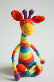 Rainbow crochet giraffe — Stock Photo