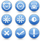 Blue 9 Alarm Bright Contrast icons — Stock Vector