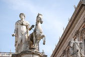 Statue of Pollux with his horse at Piazza del Campidoglio — Stock Photo