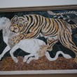 Ancient Roman Mosaic Tiger Hunting White Bull Capitoline Museum Rome Italy — Stock Photo #46297911
