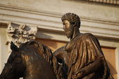 Bronze Horse Statue of the Roman Emperor Marcus Aurelius on the Capitol Hill — Stock Photo