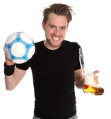Man with soccerball and beer glass — Stock Photo