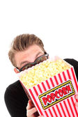 Hiding behind the popcorn — Stock Photo