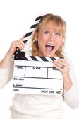 Woman holding a film slate — Stock Photo