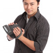 Young polaroid photographer — Stock Photo