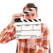 Man holding a film slate — Stock Photo