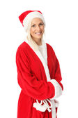 Cute santa standing on white background — ストック写真
