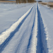 Countryside road through winter field — Stock Photo