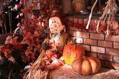 Calabazas y espantapájaros otoño — Foto de Stock
