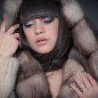 Dark-haired woman in clothes fur. - Stock Photo