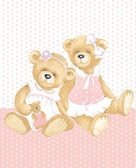 Girls Teddy Bears — Stock Vector