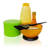 Products and tools for coloring and hair care — Stock Photo