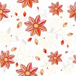 Seamless red flowers pattern - Stock Vector