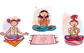 Yoga women in lotus poses — Stock Vector