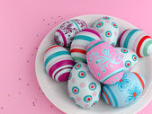 Easter eggs on pink — Stock Photo