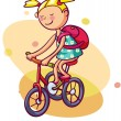 Little girl rides a bicycle - Stock Vector