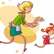 Mom feeding daughter - Stock Vector