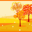 Autumn trees background - Vettoriali Stock