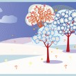 Winter trees background - Stock Vector