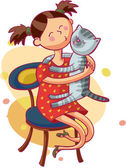 Girl and kitty — Stock Vector