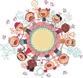 Kids and flowers in circle — Stock Vector