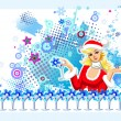 Stock Vector: Santa-girl