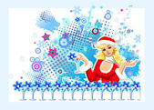 Santa-girl — Stock Vector