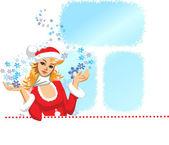 Santa meisje — Stockvector