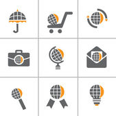 Globe icon set — Stock Vector