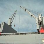 Ship granary and cranes in port. — Stock Photo #23071374