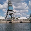 Stock Photo: Ship granary and cranes in port.