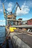 Ship granary and cranes in port. — Stock Photo