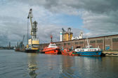 Ship granary and cranes in port. — Stock Photo