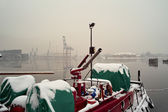 Winter in the port. — Stock Photo