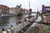реконструкция причалов в центре города. — Стоковое фото