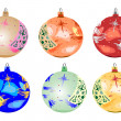Six baubles xmas. — Stock Vector #33745787
