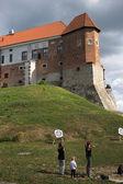 Praticar tiro com arco no castelo. — Fotografia Stock