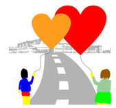 Love baloon hearts on the street. — Διανυσματικό Αρχείο