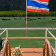 Thai nation flag is on a escort boat — Stock Photo