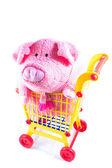 świnia różowy tkanina jest w koszyku — Zdjęcie stockowe