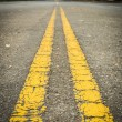 Double yellow lines — Stock Photo