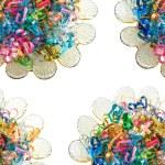 Drut kolorowe wstążki serca — Zdjęcie stockowe