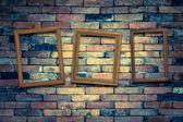 Drie foto frame op de muur — Stockfoto