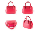 Red artificial crocodile leather bag — Stock Photo