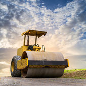 Road roller at road construction site  — Stock Photo