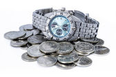 Croatian coins with wristwatch — Stock Photo